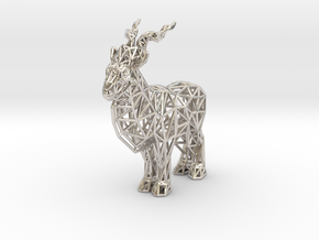Markhor (adult male) in Rhodium Plated Brass