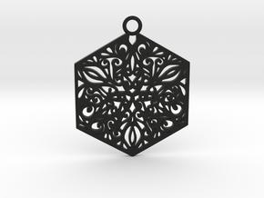 Ornamental pendant in Black Natural Versatile Plastic