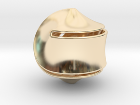 Sloped Hexasphericon Large & Hollow in 14k Gold Plated Brass