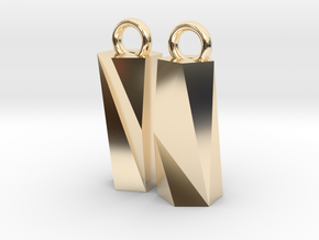 Scutoid Earrings - Mathematical Jewelry in 14K Yellow Gold