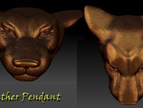 Panther Head Pendant  in Polished Bronze Steel