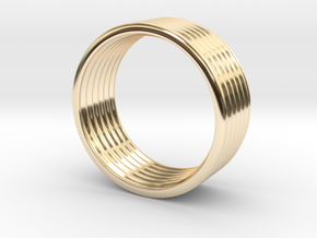 Wave Ring 5 mm 8,25 size in 14k Gold Plated Brass