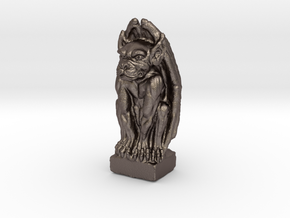 Gargoyle: Dollhouse scale, 50mm tall in Polished Bronzed-Silver Steel