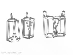 Scutoid Earrings (wireframe version) in Polished Silver