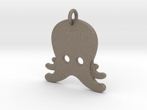 Octopus Emoji Pendant - Metal in Matte Bronzed-Silver Steel