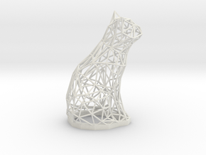 Cat wire frame sculpture 7.7 inches tall in White Natural Versatile Plastic