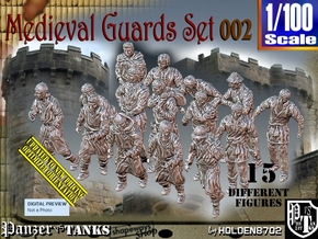 1/100 Medieval Guards Set002 in Smooth Fine Detail Plastic