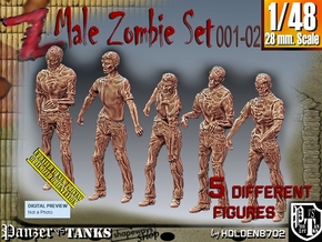 1/48 male zombie set001-02 in Smooth Fine Detail Plastic