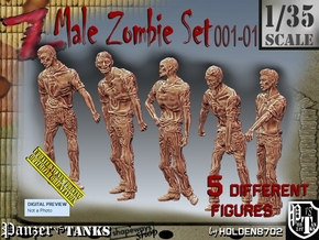1/35 male zombie set001-01 in Smooth Fine Detail Plastic