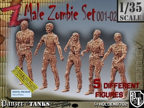 1/35 male zombie set001-02 in Smooth Fine Detail Plastic