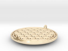 Flower of Life Ring with Jumpring in 14k Gold Plated Brass