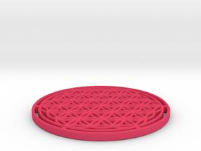 Flower of Life 7.23cm = 1 Om in Pink Processed Versatile Plastic