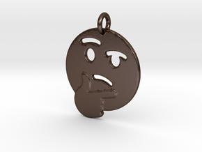 Thinker Emoji Pendant - Metal in Polished Bronze Steel