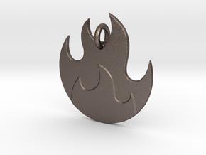 Fire Emoji Pendant - Metal in Polished Bronzed-Silver Steel