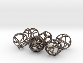 Metatronic Spheres (6 in set) in Polished Bronzed-Silver Steel