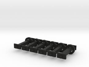 N Scale 12mm Fixed Coupling Drawbar x6 in Black Natural Versatile Plastic