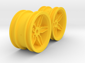 M-Chassis Wheels - Coffin Spokes - +0mm Offset in Yellow Processed Versatile Plastic