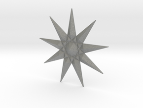 Nine-pointed Star Brooch in Gray Professional Plastic