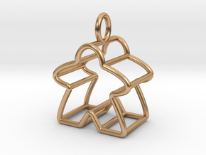 Meeple Wire-frame Pendant in Polished Bronze