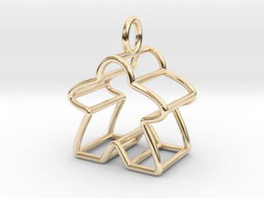 Meeple Wire-frame Pendant in 14k Gold Plated Brass