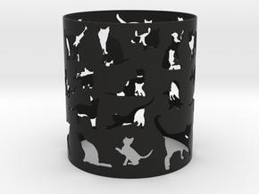 Cat Tea Light Cover in Black Natural Versatile Plastic
