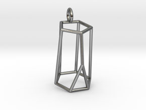 Scutoid Pendant - Version 2 (wireframe) in Polished Silver