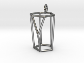 Scutoid Pendant - Version 1 (wireframe) in Polished Silver