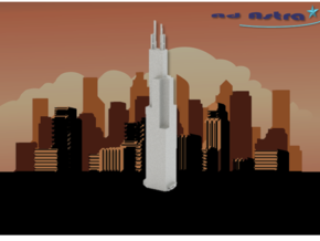 Willis/Sears Tower - Chicago (1:4000) in White Natural Versatile Plastic
