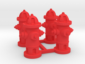 Fire Hydrants in Red Processed Versatile Plastic: 1:64 - S