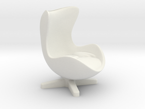 Arne Jacobson Egg Chair Inspired in White Natural Versatile Plastic: Medium