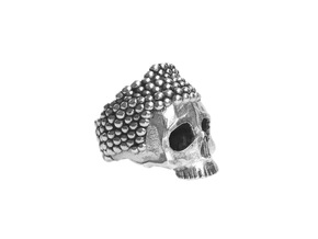 Buddha Skull Ring in Antique Silver: 9 / 59