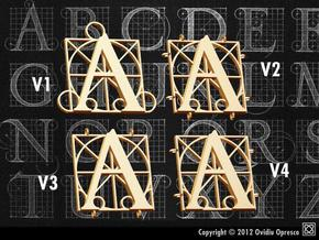 Durer Alphabet - A - v1v2v3v4  in Polished Bronzed Silver Steel