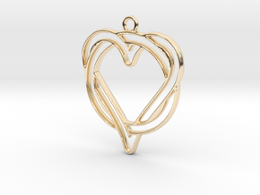 Circle and heart intertwined in 14k Gold Plated Brass