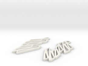 Zigzag earrings in White Natural Versatile Plastic: Large
