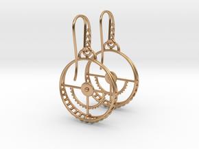 Clockwork Hoop Earrings in Polished Bronze (Interlocking Parts)