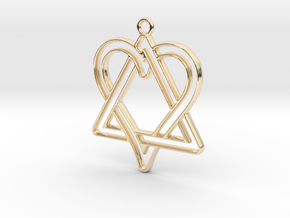 Heart and triangle intertwined in 14k Gold Plated Brass