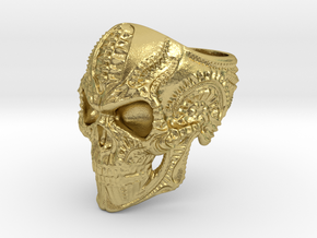 Skull Ring Personalized In Stainless Steel And Sil in Natural Brass