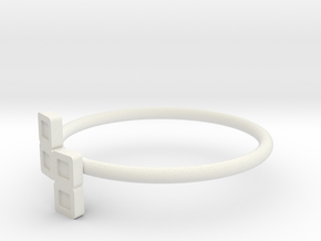 Block Puzzle Ring (Type-N2) in White Natural Versatile Plastic