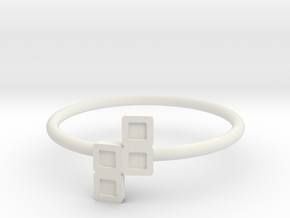 Block Puzzle Ring (Type-N) in White Natural Versatile Plastic