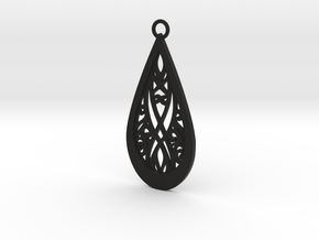 Elven pendant in Black Natural Versatile Plastic: Medium