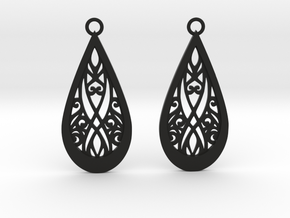Elven earrings in Black Natural Versatile Plastic: Small