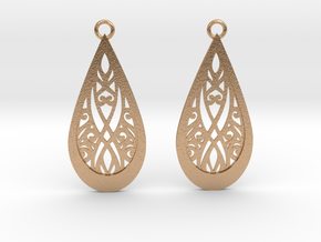 Elven earrings in Natural Bronze: Small
