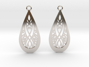 Elven earrings in Rhodium Plated Brass: Small