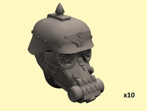 28mm Dieselpunk soldier heads in Smoothest Fine Detail Plastic