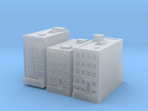 New York Set 1 Houses of 1 x 2 set of 3 in Smooth Fine Detail Plastic