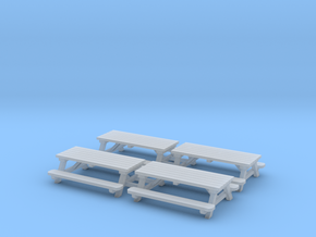 Picnic Tables 01. HO scale (1:87) in Smooth Fine Detail Plastic