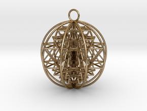 "3D Sri Yantra 9 Sided Optimal 2.2"" in Polished Gold Steel"