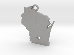 Wisconsin Pendant with Heart in Aluminum