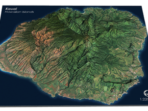 Kaua'i Map, Sans Base in Matte Full Color Sandstone