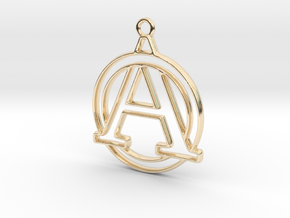 Initial A & circle intertwined in 14k Gold Plated Brass